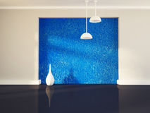 Vase near the blue wall, 3d Royalty Free Stock Image