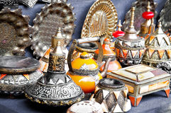 Vase and other products of the Moroccan. Teapot, tadjin, vase and other products of the Moroccan potter's factories Stock Photos