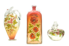 Vase with painting. Glass vase with painting in ukraine style Stock Photography
