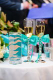 Vase with pattern wedding sand ceremony, blue with white Stock Photos
