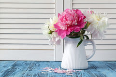 Vase of peony blooms. In vase royalty free stock photos