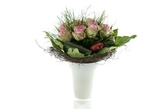 Vase with pink roses Royalty Free Stock Image