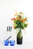 Vase with Plastic flowers Stock Photos