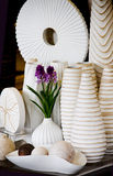 Vase and Pot. The white group of vase and pot are handwork Royalty Free Stock Photography