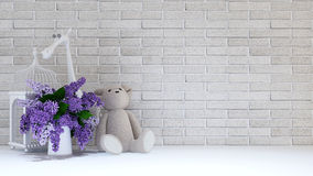 Vase of purple,bird cage ,teddy bear and giraffe for childen - 3. D rendering for background Stock Images