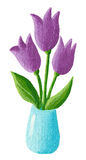 Vase with purple tulips Royalty Free Stock Image