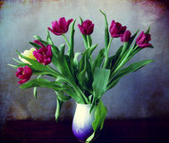 Vase with purple tulips Stock Images
