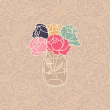 Vase of ranunculus on a seamless floral pattern. Vector illustration for wedding invitation or save the date cards Stock Image