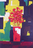 Vase with Red Flowers - Painting. Vase with a Bouquet of Red Flowers on Geometric Background. From Original Acrylic Painting Stock Photos
