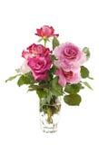 Vase rosafarbene Rosen Stockfoto