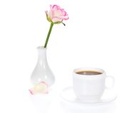 Vase with rose and cup Royalty Free Stock Photo