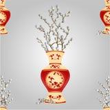 Vase sans couture à texture avec le vecteur de saule de chat de branche Images stock