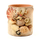 Vase with seashell decorate isolated Stock Photos