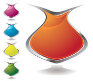 Vase shield. Set of five vase shaped shields in different colours Stock Image