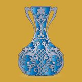 Vase silhouette blue, ornate, with peacock pattern, on light b Royalty Free Stock Photo