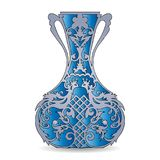 Vase silhouette blue, ornate, with peacock pattern, on white b Royalty Free Stock Image