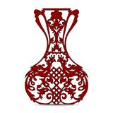 Vase silhouette dark red, ornate, with peacock pattern, Stock Images