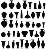 Vase silhouette  set. Interior decor collection Stock Photos