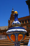 The vase on Spain Plaza, Seville, Spain. The fragment of architecture Spain Plaza, Seville, Spain Stock Images