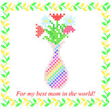 Vase with spring flowers. Embroidery. Isolated illustration of vase with spring flowers. Embroidery Royalty Free Stock Photos