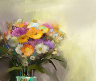 Oil painting still life bouquet of flowers in vase Royalty Free Stock Image