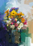 Vase with still life a bouquet of flowers painting Stock Photo