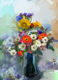 Oil painting Vase with still life a bouquet of flowers Stock Photo