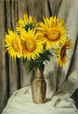 Vase with sunflowers. Sunflowers in a vase. Watercolor still life Stock Photography