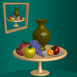 Vase on the table. Still Life: Vase on the table, a plate, apples, grapes. On the wall hangs a picture Stock Image