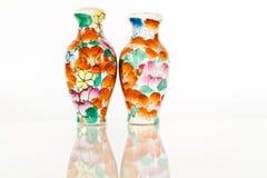 Vase in Thai Style. On white Background Royalty Free Stock Photo