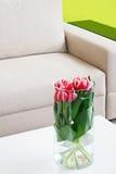 Vase of tulips stock photography