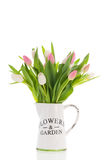 Vase tulips in pink and white Stock Photos