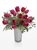 Vase of Tulips on White Space Stock Photography