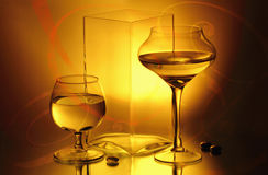 A vase and two winelasses Stock Photo