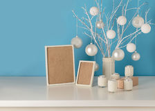 Vase in white knitted cover with white branches and Christmas to Stock Photography