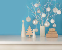Vase in white knitted cover with white branches and Christmas to Royalty Free Stock Images