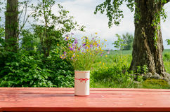 Vase with wild flowers standing outside red table Stock Photos