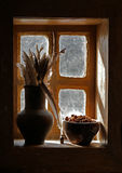 Vase, window, feathers, still life. Antiquity scribe still life with goose pen in jar for write and dry ashberry in clay cup on wooden windowsill at dark hut royalty free stock photos