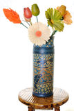 Vase with Wood Flowers Stock Images