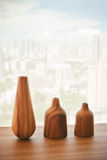 Vase wood on table decorate design Stock Photo