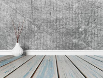 Vase on the wooden floor, 3d Stock Photography