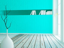 Vase on the wooden floor,. 3d rendering Stock Photography