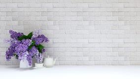 Vasen av lilor blommar med terasten på tegelstenbakgrund - beträffande 3D Royaltyfri Fotografi