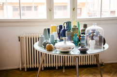 Vasen der Weinlese-Kunst 70s und 80s stockfotos