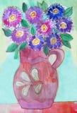 Vasen med av en bukett blommar _ Fotografering för Bildbyråer