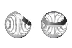 Vaser för Chrome ståltråd för frukter framförande 3d Royaltyfri Fotografi