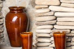 Vases à argile de Brown Photo libre de droits