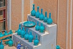Vases à turquoise d'argile Photographie stock