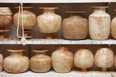 Vases. Different handmade vases by africans Stock Photo