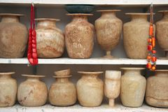 Vases. Different handmade vases by africans Stock Photos
